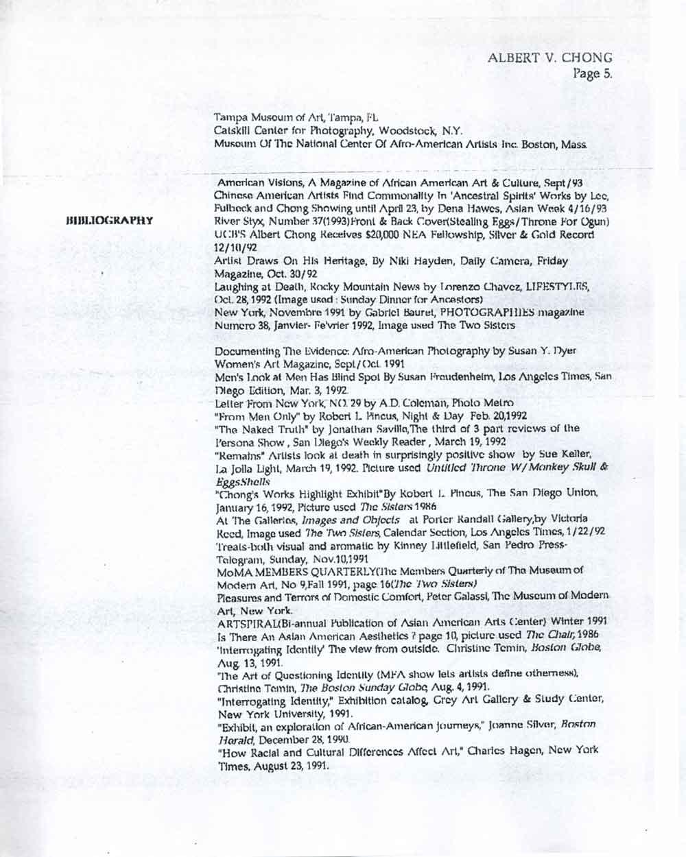 Albert Chong's Resume, pg 5